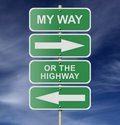 Street Road Sign My Way Or The Highway Royalty Free Stock Image