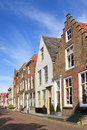 Street with row of ancient brickwork mansions, Veere, Netherlands Royalty Free Stock Photo