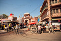 Street with rushing people cycles and horses jodhpur india sunny day on the jodhpur population is a center of marwar Stock Photography