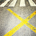 Street safety zone sign on the asphalt ground Royalty Free Stock Photos