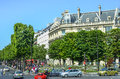 Street scene along Avenue des Champs-Elysees Royalty Free Stock Image