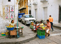 Street Scene in Cartagena, Colombia Royalty Free Stock Image