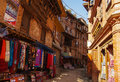 Street scene nearby bhaktapur square nepal Royalty Free Stock Images