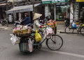 Street seller with bycicle Royalty Free Stock Photo