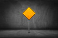 Street sign blank yellow road sign with street wall Royalty Free Stock Image