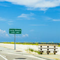 Street sign long beach at highway in pass christian Stock Photography