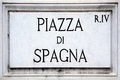 Street sign the Piazza di Spagna in Rome Royalty Free Stock Photo