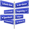 Street signs crime with names that imply life in slums and its resulting criminality german labeling isolated vector on white Royalty Free Stock Image