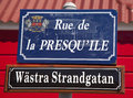 Street signs in St. Barths  posted at Swedish along with their French name Royalty Free Stock Photo