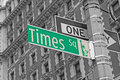 Street signs for times square in nyc manhattan new york city color splash efect picture Royalty Free Stock Photo