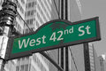 Street signs for west nd street in nyc manhattan new york city color splash efect picture Stock Photos