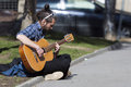 Street singer guitar player Royalty Free Stock Photo