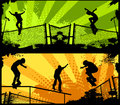 Street skaters in grunge background Stock Photography