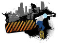 Street skaters in grunge background Royalty Free Stock Image