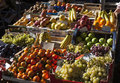 Street stall fruits. Wooden boxes with fruit inside Royalty Free Stock Photo