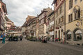 Street stein am rhein in switzerland on a cloudy day there are people walking and shopping is an editorial image vertically Royalty Free Stock Images