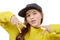 Street style hipster girl with hat and yellow pullover on white Royalty Free Stock Photo