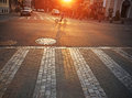 Street at sunrise paved or sunset Royalty Free Stock Photo
