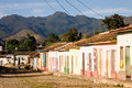 Street sunset colored houses colonial town trinidad cuba Royalty Free Stock Photos