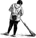 Street sweeper vector drawing of the cleaner Royalty Free Stock Photography