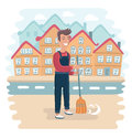 Street Sweeper at Work, street cleaner, public sector worker. Hand drawn vector illustration.