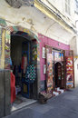 Street in tangier with souvenier shops in morocco vertical photo of coloured doors Royalty Free Stock Photography