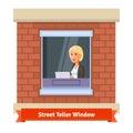 Street teller window with a working clerk woman
