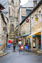 Street to treguier cathedral france july in france on july the dates from the th century and has a mix of Stock Photos