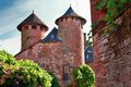 Street and towers at collonges la rouge in correze france Stock Photography