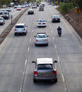 Street traffic from above cars and motorcycle Stock Photo