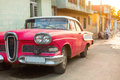 Street of Trinidad, Cuba. Old classic car Royalty Free Stock Photo