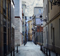 Street in valencia spain mysterious narrow alley with lanterns Royalty Free Stock Images