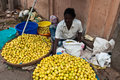 Street Vendor in India Selling Fruit Royalty Free Stock Photo