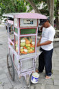 Street vendor of indonesia selling mixed cut fruits on his mobile cart Stock Image