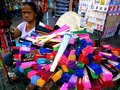 Street vendor selling colored fans in quiapo manila philippines in asia photo of a Royalty Free Stock Photo