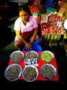 Street vendor selling food photo of a in quiapo manila philippines asia shrimp and onions Stock Image