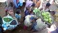 Street vendors madagascar fianarantsoa bananas and pepper in a train station Stock Images