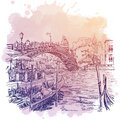 Street view with chanell, pier and bridge over a chanell in Veniece, Italy. Vintage design. Linear sketch on a Royalty Free Stock Photo