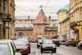 Street view of lviv with armory ukraine modern old Stock Image