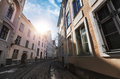 Street view with morning sun in old tallinn town of estonia Stock Photography