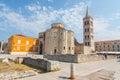 Street view near st. Donatus church in Zadar, famous landmark of Croatia, adriatic region of Dalmat Royalty Free Stock Photo