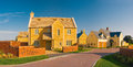 Street view of new houses newly built homes Royalty Free Stock Image