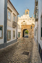 Street view of old downtown Faro - Capital of Algarve - Portugal Royalty Free Stock Photo