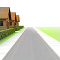 Street view with road and three houses illustration Stock Photo