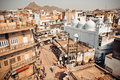 Street view from top point and historical houses of indian city Royalty Free Stock Photo