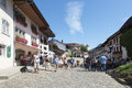 Street in the village of gruyères switzerland view main swiss canton fribourg town and region are famous for Royalty Free Stock Photos