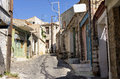 A street in Volissos village, Chios island, Greece Royalty Free Stock Photo