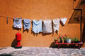 Street wash laundry hanging Stock Image