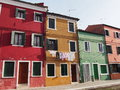 Street and washing - Burano Royalty Free Stock Photo