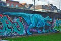 Streetart, blue tyrannosaur Royalty Free Stock Photo